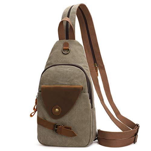 Canvas Sling Bag Crossbody Backpack Shoulder Casual Rucksack for Men Women