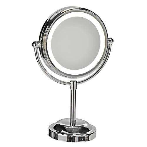 Haushalt International Miroir de Maquillage avec Ø15 cm LED Argent