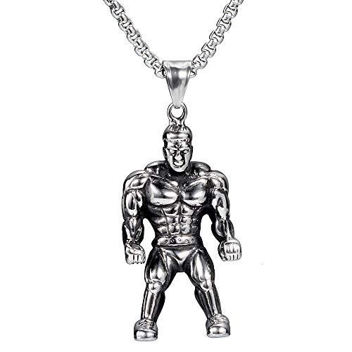 FTYYSWL Halskette mit Anhänger aus Titanstahl, Fitness-Modell, Muskeln, Zubehör