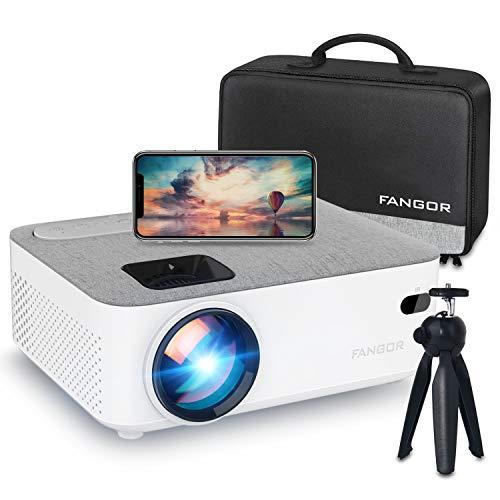 FANGOR プロジェクター 小型 6500ルーメン WiFi接続 スマホ無線 Bluetooth 1080PフルHD対応 スマホ パソコン PS4 タブレット HDMI対応 日本語取扱説明書三年保証
