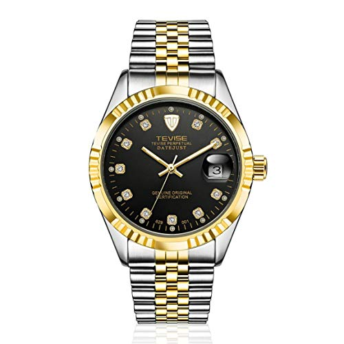 SeniorMar Reloj mecánico automático TEVISE 629-001 de Estilo empresarial para Hombre, Calendario de Agujas, Reloj de Pulsera de Acero Inoxidable Resistente al Agua de Lujo