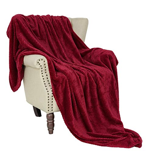 Exclusivo Mezcla Waffle Flannel Fleece Velvet Plush Large Throw Blanket – 50' x 70' (Burgundy Red)