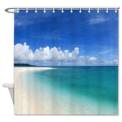 Promini Beach Ocean Sea Palm Pattern Shower Curtain Set with Hooks Durable Waterproof Fabric Decorative Bath Curtain Modern Bathroom Accessories 78