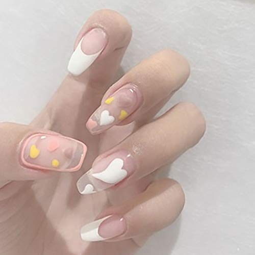 Fairyu Long Press on Nails White Cute Fake Nails Matte French Nails Ballerina Artificial Nails for Women and Girls (24PCS)