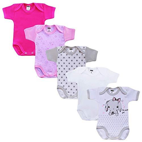 Body de manga corta unisex para bebé de Mea BABY con impresión de 100% algodón en pack de 5...