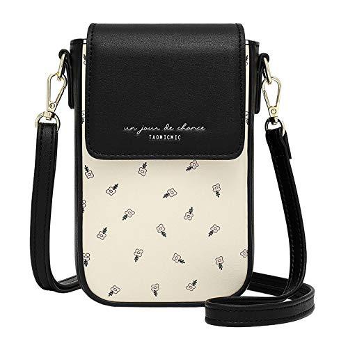 Aeeque Bolso bandolera para mujer, funda de piel sintética, bolso de hombro, elegante bolsa con tarjetero, monedero para teléfono móvil de menos de 6,5 pulgadas, Negro (Negro) - AEDB500015BA