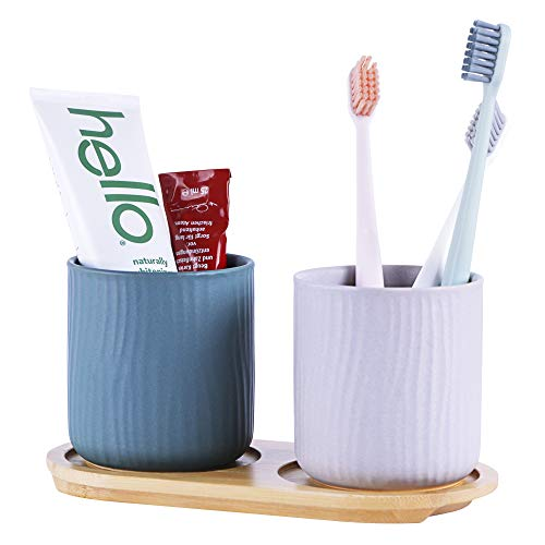 GENIEINUS - Eco Friendly Bamboo Toothbrush Toothpaste Razor Makeup Brushes Holder 2pcs Cups with Drying Rack Bathroom Countertop Organizer Stand Cup Premium Products Multi Functional Storage