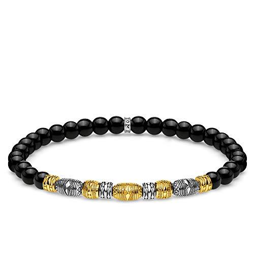 Thomas Sabo Unisex-Armband Talisman bicolor schwarz 925 Sterlingsilber gelbgold vergoldet A1922-966-11-L15,5