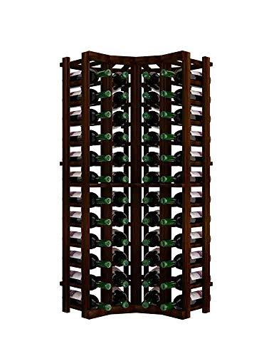 Winemaker Series Wine Rack - Curved Corner - 4 Ft - Premium Redwood Dark Walnut Stain