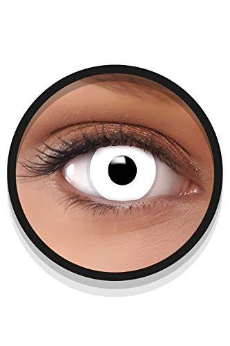 FXEYEZ Farbige Halloween Kontaktlinsen weiß ZOMBIE, weich, 2 Stück (1 Paar), Ohne Sehstärke