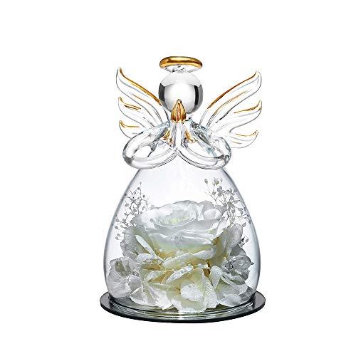 Forever Rose in Angel Glass Dome Figurine Fiore artificiale - Fiori eterni fatti a mano Galaxy White Rose Regali unici per le donne Matrimonio di Natale San Valentino Anniversario e compleanno