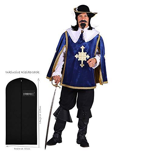 WOOOOZY Herren-Kostüm Musketier Aramis Deluxe, blau, zweiteilig, Gr. L - inklusive praktischem Kleidersack