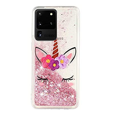 HopMore Glitter Funda para Samsung Galaxy S20 Ultra / S20 Ultra 5G Purpurina Silicona Cover 3D Liquido Brillante Dibujos Transparente Carcasa Resistente (Borde Antigolpes) Case Protección - Unicornio