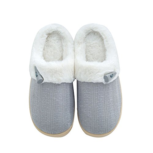 NineCiFun Women's Slip on Fuzzy Slippers Memory Foam House Slippers Outdoor Indoor Warm Bedroom Shoes Fur Lined (9-10 M US, Light Gray)
