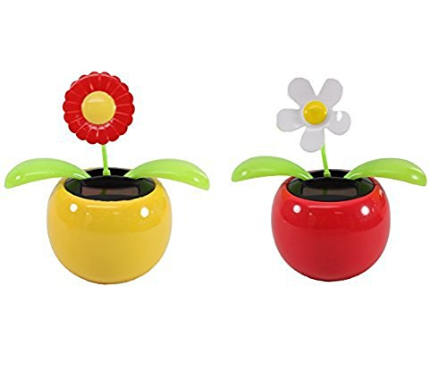 Set of 2 Dancing Flowers,1 White Daisy + 1 Red Sunflower Or 1 White Lily + 1 Orange Daisy Solar Toy Flowers Great Holiday Car Dashboard Office Desk Home Decor( KT1 Random)