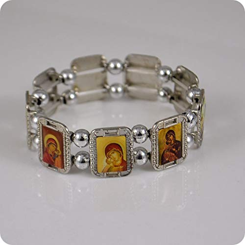 Orthodoxe Ikone Rosenkranz Perlen Armband Jesus Jungfrau Maria Mode Religiöser Schmuck Legierung Elastische Armbänder