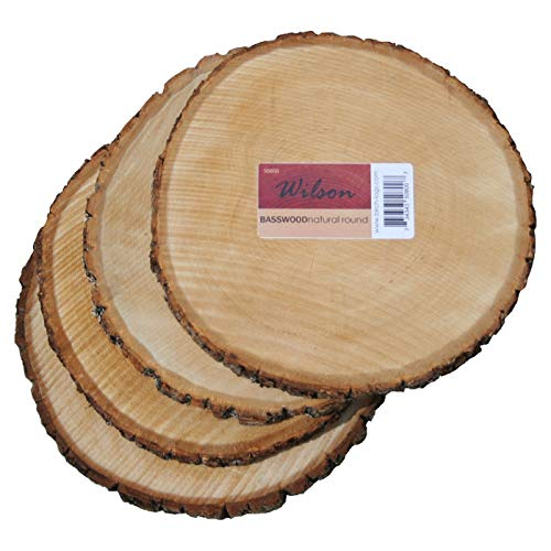 """Wilson Enterprises 4 Pack Basswood Round Rustic Wood, Unsanded, 9-11"""" Diameter (Large) Excellent for Wedding Centerpiece, DIY Woodland Projects, Table Chargers, or Country Decor"""
