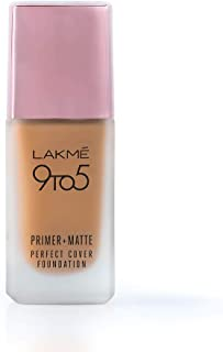 Lakme 9To5 Primer + Matte Perfect Cover Foundation, N340 Neutral Almond, 25 ml