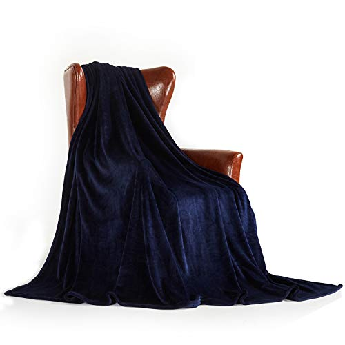 MERRYLIFE Throw Blanket Decorative Ultra-Plush | Soft Colorful Oversized | Couch Lap Fleece Blanket | (50' 60', Navy)