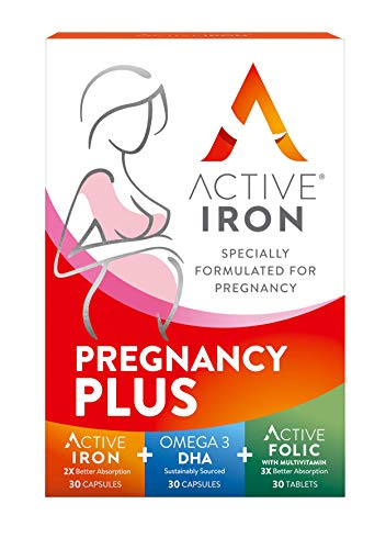 Active Iron Pregnancy Plus, Pregnancy Vitamins Contains 21 Essential Prenatal Vitamins for Women