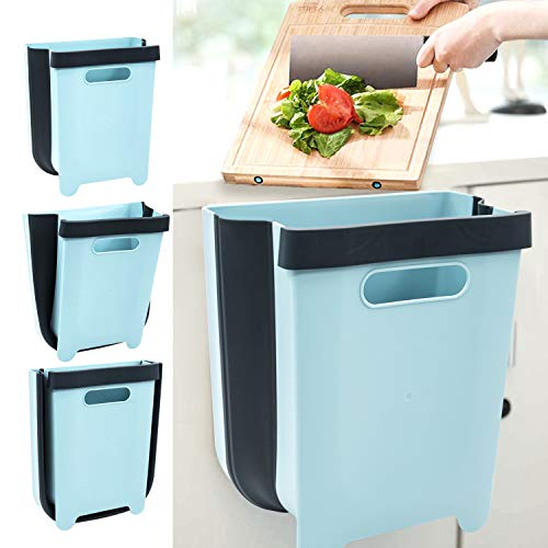 foldable trash cans Canva Kitchen Hanging Trash Can Foldable for Wall or Cabinet, Small Hanging Kitchen Trash Can,Collapsible Garbage Bin Portable for Car Home Outdoor (Blue)