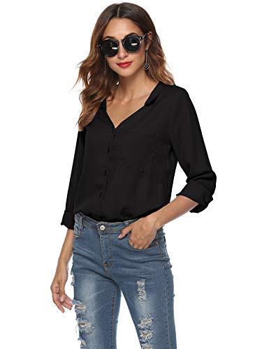 SIRUITON Bluse Damen Elegant V-Ausschnitt Lose Lange Ärmel Hemd mit Tasche Schwarz Small(DE34-36)