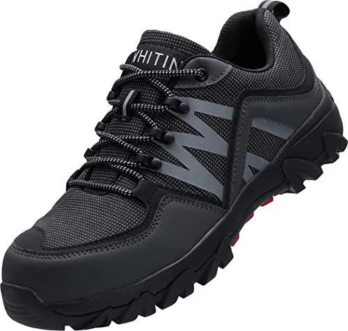 WHITIN Sicherheitsschuhe mit Stahlkappe Schuhe Leicht Indestructible Shoes Schutzschuhe rutschfeste Arbeitsschuhe Wanderschuhe Sicherheits Herren grau Größe 45 EU