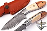 GladiatorsGuild DH82B Custom Handmade Damascus Steel Fixed Blade Outdoor Camping Knife with Leather Sheath DH82B