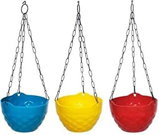 Go Hooked Multicolor Round Diamond Plastic Hanging Pots & Planters with Metal Hanging Chain for Home Garden Balcony (Multi...