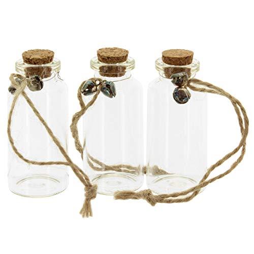 MIK Funshopping Fläschchen 3er Set Flaschenpost für Gutscheine mit Glöckchen und Korken