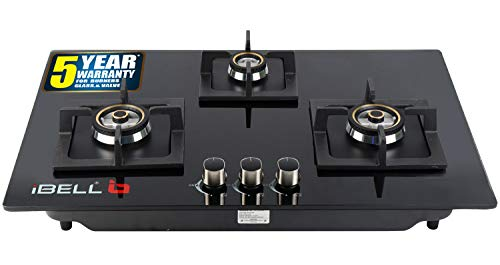 iBELL 490GH HOB 3 Burner Glass Top Gas Stove with Auto Ignition,Toughened Glass,Royal Black Design