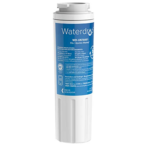 Waterdrop UKF8001 Refrigerator Water Filter, Compatible with EveryDrop Filter 4, EDR4RXD1, UKF8001AXX-750, UKF8001AXX-200, Wrx735sdbm00, Whirlpool 4396395, 469006, PUR, Puriclean II, 1PACK