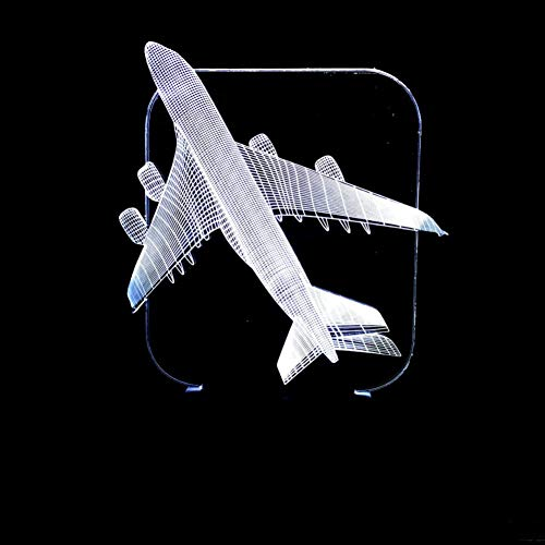 GCCQT privacy vliegtuig-3D-illusie lamp LED nachtlampje 7 kleuren wijzigen, touch control, USB-oplader, als decoratieve woonkamer slaapkamer en mooi verjaardagscadeau