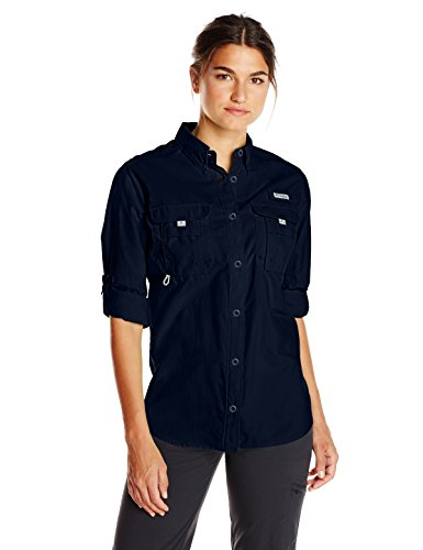 Columbia Women's PFG Bahama II Long Sleeve Shirt, Breathable, UV Protection, Collegiate Navy, Medium