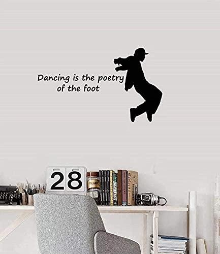 Etiqueta de la pared de PVC extraíble calcomanía de pared lámpara de pared silueta de baile baile breakdance sala de estar familiar dormitorio adolescente 57X96cm