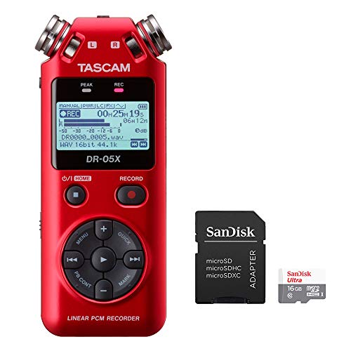 Tascam DR-05X RED Stereo Handheld Digital Recorder and USB Audio Interface with 16GB MicroSD Memory Card