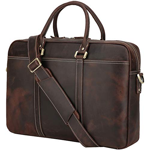 Polare Retro Full Grain Leather Laptop Office Briefcase Fit up to 17.3'' Laptop With YKK Metal Zipper