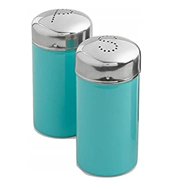 WM Stainless Steel Brightly Colored Salt And Pepper Shaker Set (Aqua)
