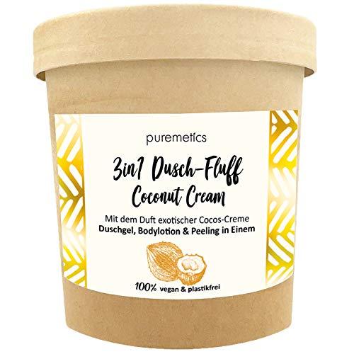 puremetics 3in1 Dusch-Fluff (250g) | Duschgel, Peeling und Lotion in Einem | 100% vegan & plastikfrei | pflegend, hautverfeinernd & glättend | ohne Mikroplastik | Zuckerpeeling (Coconut-Cream)
