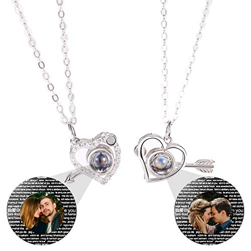 100 Kinds Of I Love You Necklaces Custom Photo Necklaces Couple Necklaces Valentine'S Day for Lovers(Silver Full Color 14)