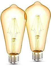 B.K.Licht Set van 2 ST64 Edison Vintage Lamp I E27 4W 2700K 380lm I Warm Wit I LED Lamp I Retro Lamp I Filament