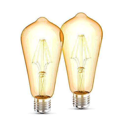 B.K.Licht Set de 2 ST64 Edison Vintage Bombilla I E27 4W 2700K 380lm I Blanco cálido I Bombilla LED I Bombilla retro I Filamento