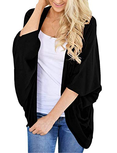 Womens Kimono Cardigan Sweater Open Front Loose Fit Cardigans Cover Up Black XXX-Large