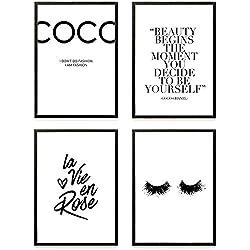 Heimlich ® Premium Poster Set   Stilvolles Set mit passenden Bilder in Schwarz-Weiß   4 Stück in DIN A4 (21x30cm)   Ohne Bilderrahmen » Coco «