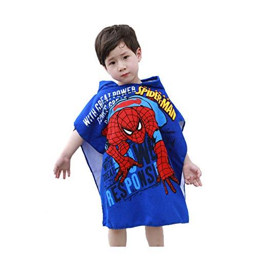 Leezeshaw Toalla de baño con capucha para niños, diseño de Spiderman en 3D de los Vengadores, de secado rápido, con capucha, toalla de playa, toalla de baño