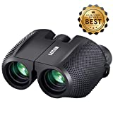 SGODDE Compact Binoculars for Adult Kids 10x25 Waterproof Binocular Weak Light Night Vision Folding High Powered Clear Binoculars Lightweight Bird Watching