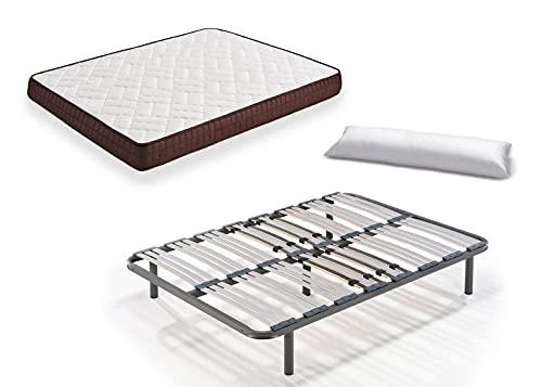 Hogar24 Es Cama Completa-Colchón Viscobrown Reversible + Somier Multiláminas + 5 Patas de 32cm + Almohada de Fibra, 150x190 cm, 32 cm, 150x190