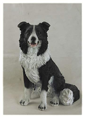 sitzende Hunde-Figur Border Collie lebensgroß