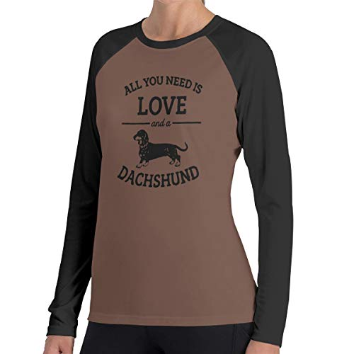 Alles wat je nodig hebt is liefde en een teckel vrouwen Raglan zachte kleur blok Baseball lange mouwen Pullover Tuniek Top T-Shirts klassieke blouses Top Tee