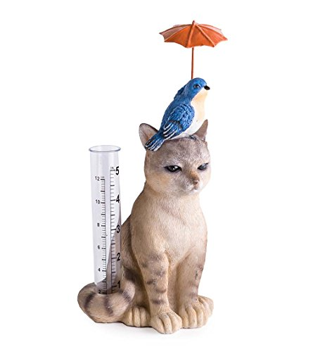 Wind amp Weather Cat and Bird with Umbrella Rain Gauge  AllWeather Resin Sculpture with Acrylic Rain Tube